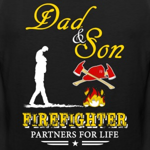 Dad And Son Firefighter T-Shirts - Men's Premium Tank