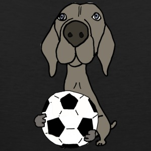 Cool Funky Weimaraner Dog Playing Soccer - Men's Premium Tank