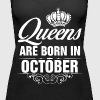 Queens Are Born In October Tshirt - Women's Premium Tank Top