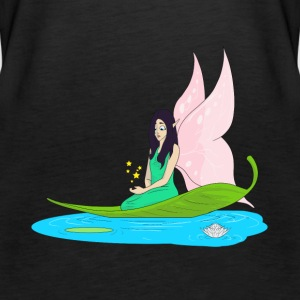 Fairy swims on a leaf in the pond - Women's Premium Tank Top