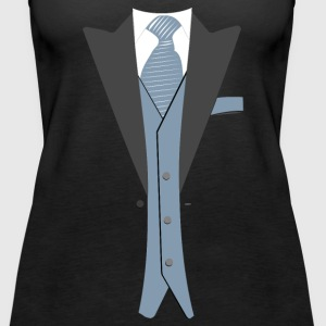 Tuxedo Light Blue Gray Tie - Women's Premium Tank Top