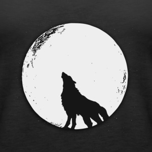 The wolf in the full moon design - Women's Premium Tank Top