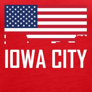 Iowa City Iowa Skyline American Flag - Women's Premium Tank Top