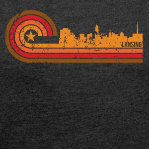 Retro Style Lansing Michigan Skyline Distressed - Women's Roll Cuff T-Shirt