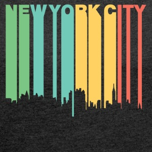 Retro 1970's Style New York City Skyline - Women's Roll Cuff T-Shirt