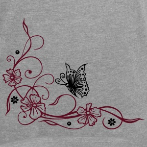 Flowers with filigree floral ornament, butterfly. - Women's Roll Cuff T-Shirt