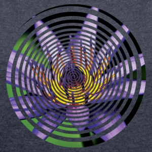 Purple Water Lily Circle - Women's Roll Cuff T-Shirt