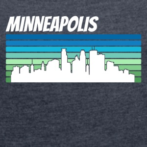 Retro Minneapolis Skyline - Women's Roll Cuff T-Shirt