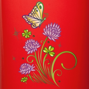 Summer meadow with clover and colorful butterfly. - Full Color Mug