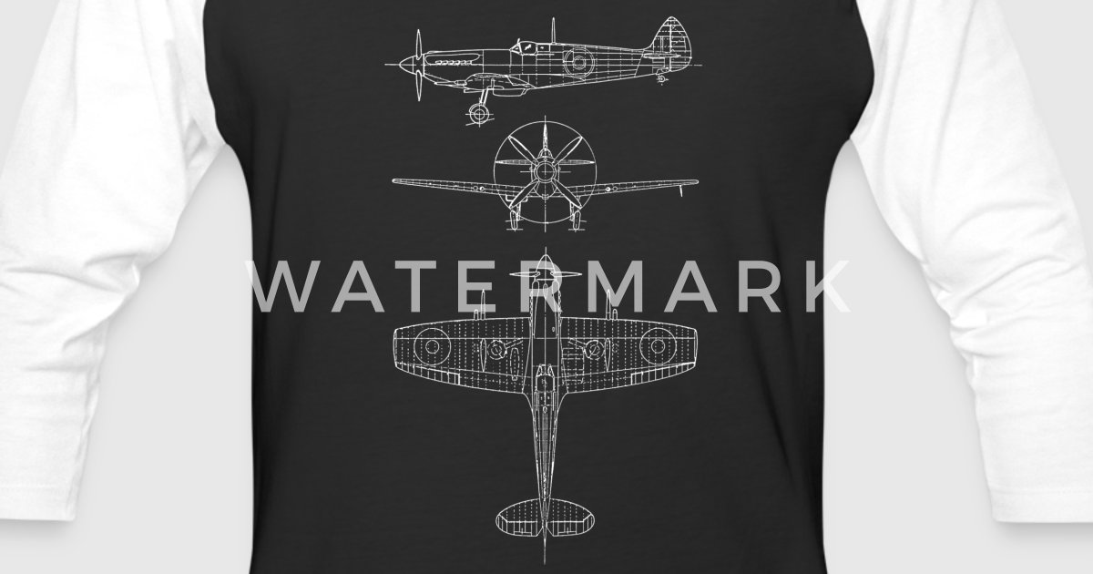 Spitfire airplane blueprint mens baseball t shirt spreadshirt malvernweather Choice Image