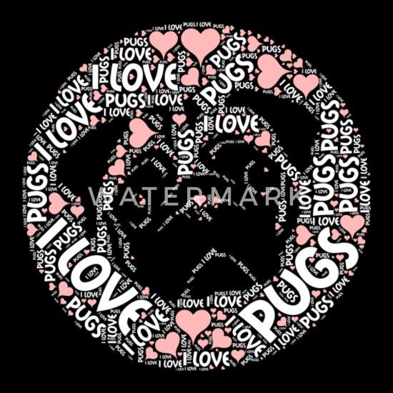 I Love Pugs Funny Great Gift For Pug Lovers Wordcloud Original Meme Unisex Baseball T Shirt Spreadshirt