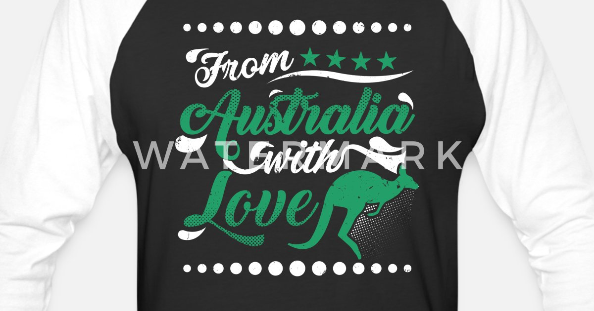 756b4343a Australia Day Australian Flag Shirt From Australia with Love Unisex  Baseball T-Shirt | Spreadshirt