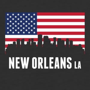 American Flag New Orleans Skyline - Baseball T-Shirt