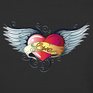 Big heart with wings, Tattoo Style. - Baseball T-Shirt