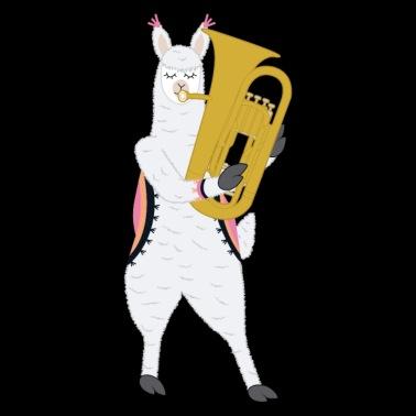 922b9d698ec Cute Alpaca Llama Playing Tuba Musician Gift - Unisex Baseball T-Shirt