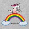 Crazy rainbow sliding on a unicorn - Baseball T-Shirt