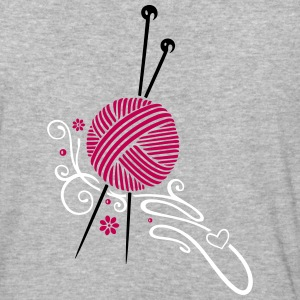 Knitting needles with wool and flowers. - Baseball T-Shirt