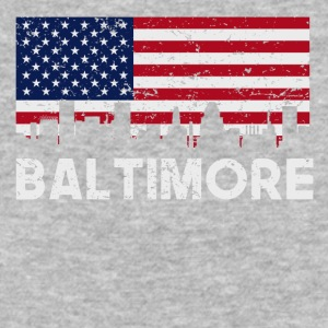 Baltimore MD American Flag Skyline Distressed - Baseball T-Shirt