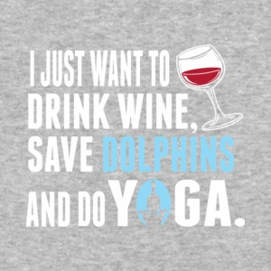 Drink Wine Save Dolphins And Do Yoga T Shirt - Baseball T-Shirt