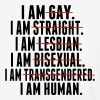 I AM GAY. I AM STRAIGHT. I AM LESBIAN, I AM HUMAN - Baseball T-Shirt