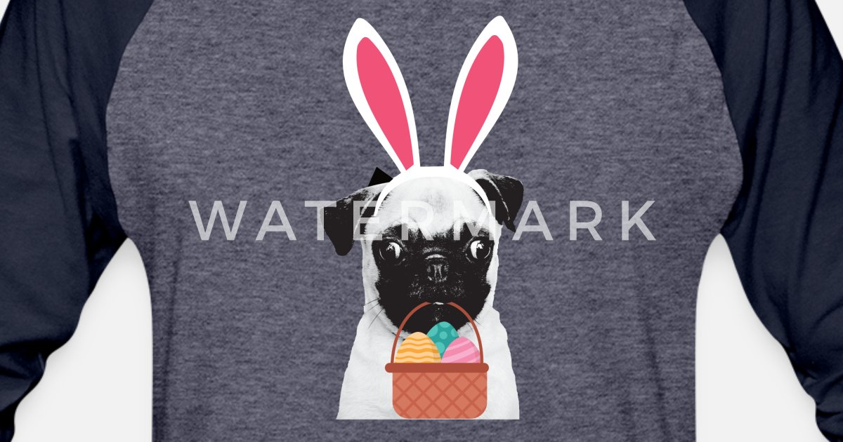 31ad627ef7cf Pug Easter Bunny Funny Easter T Shirt for Dog Unisex Baseball T-Shirt |  Spreadshirt