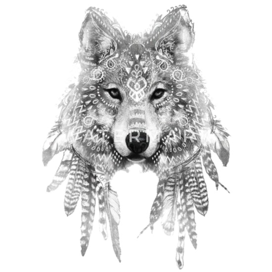 b26697a318417 wolf tattoo ink drawing sleeve tattoo Mouse Pad | Spreadshirt