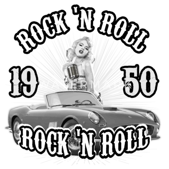 Rock n Roll 50s Music Car Style Rockabilly Gift Mouse pad Horizontal - white