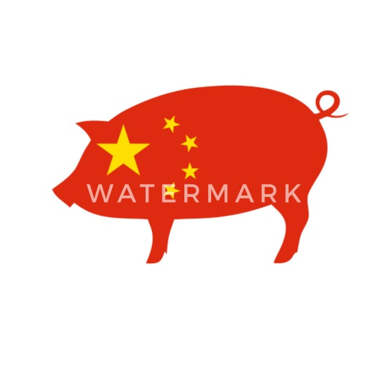 China Flag Pig Chinese New Year 2019 Design Mouse pad Horizontal - white