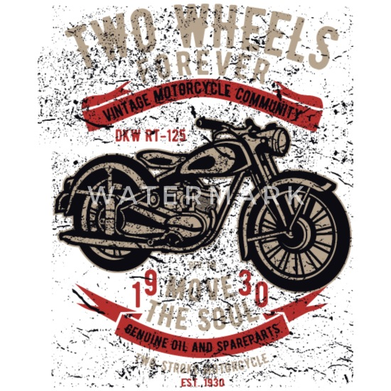 Two Wheels Forever - Motorbiker T Limited Edition Mouse pad Horizontal -  white