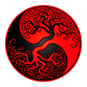 Red and Black Tree of Life Yin Yang