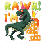Dinosaur Birthday Shirt 4th Years Old Rawr I'm 4 Toddler ...
