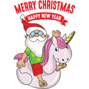 Funny Santa Claus Unicorn Xmas Merry Christmas by For More Designs ...