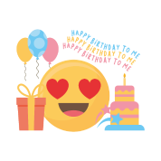 Happy Birthday To me Emojis Heart Love Gift Men's Tall T-Shirt - black
