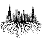 chicago skyline silhouette vector with roots tee by bespoketech