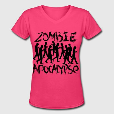 ''social'' zombies  - Women's V-Neck T-Shirt
