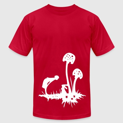 The Rabbit's Mushrooms - Men's T-Shirt by American Apparel