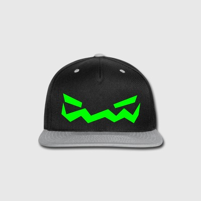 Jack o Lantern Face Cap (Green+Grey) - Snap-back Baseball Cap