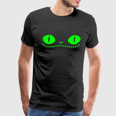 Creepy Cat (Green+Black) - Men's Premium T-Shirt