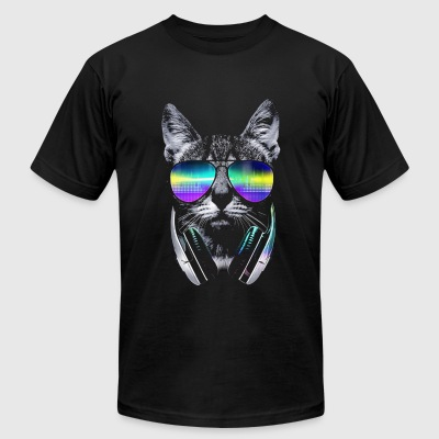 Psychedelic Kitty  - Men's T-Shirt by American Apparel