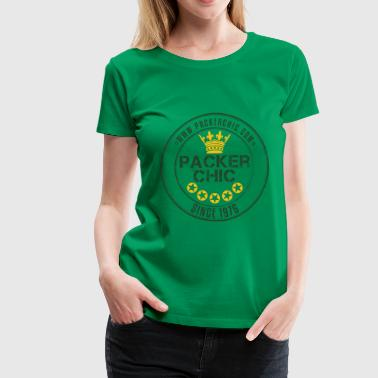 Packer Chic Retro Badge Green and Yellow Women's T-Shirts - Women's Premium T-Shirt