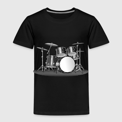 BIG DRUMSET - GREYSCALE - Toddler Premium T-Shirt