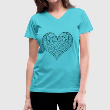 V-neck Tshirt heart - Women's V-Neck T-Shirt