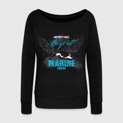 Captivity Kills Orcas design by Calico Dragon - Women's Wideneck Sweatshirt