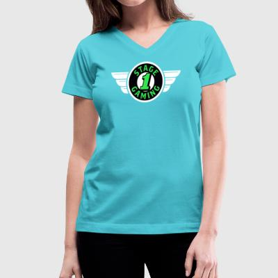 Authentic Stage 1 Gaming Tee - Aqua Blue - Womens - Women's V-Neck T-Shirt