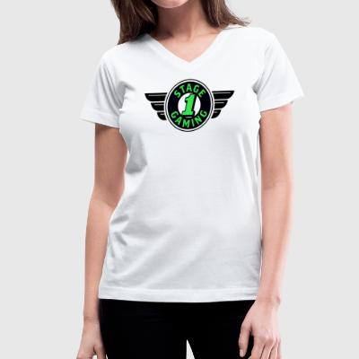 Authentic Stage 1 Gaming Tee - White - Womens - Women's V-Neck T-Shirt