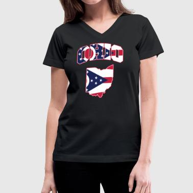 Ohio Flag in Ohio Map V-Neck Tee - Women's V-Neck T-Shirt