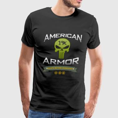 American Armor: Death Before Dismount/Skull - Men's Premium T-Shirt