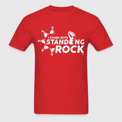 I Stand With Standing Rock - Red w/white text - Men's T-Shirt