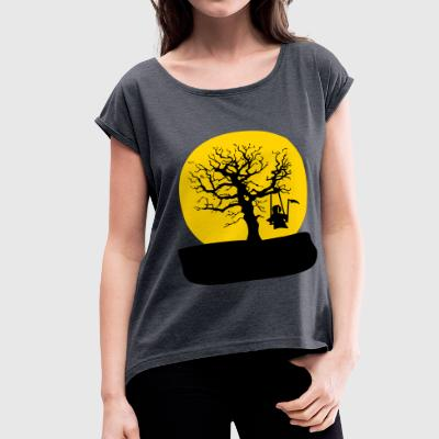 rocking reaper on a tree_girls - Women's Roll Cuff T-Shirt