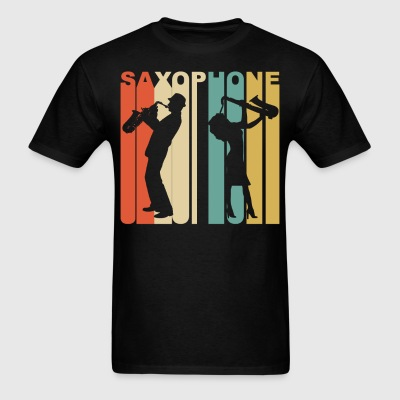 Retro 1970's Style Saxophone Player Silhouette - Men's T-Shirt